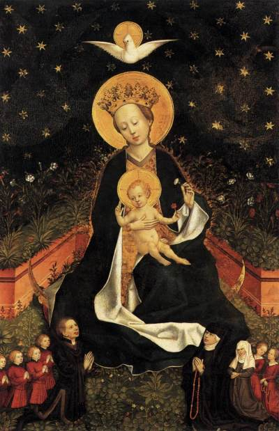 Madonna on a Crescent Moon in Hortus Conclusus by unknown Master, German, 1450's